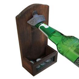 Abridores de garrafas de cerveja vintage on-line-Retro Fixado Na Parede Abridor De Garrafas de Parede Fixo Abridor De Cerveja De Madeira Do Vintage para Bar Cap Abridor de Cozinha Ferramentas de Armazenamento Cap