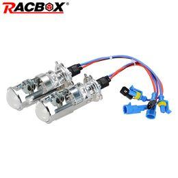 rosa led-scheinwerfer Rabatt Mini-Projektorobjektiv RACBOX Paar 55 W H4 LHD RHD Bi-Xenon-Lampen VERSTECKT Glühlampe Lampe Hi / Lo Beam Scheinwerfer 1,5