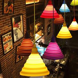 Portalampada in silicone 220V E27 Lampade a sospensione nordiche Lustri Apparecchio vintage moderno design fai-da-te Paralume per soggiorno Bar da