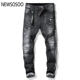 american style jeans for men Coupons - European American Style famous brand mens jeans luxury Men straight denim trousers zipper hole Slim black jeans for men