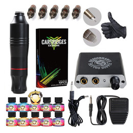 Débutant Tattoo Kit Rotary Pen Gun Cartidges Aiguilles Mini Alimentation IMMORTAL Encres Tattoo Supply D3017 ? partir de fabricateur