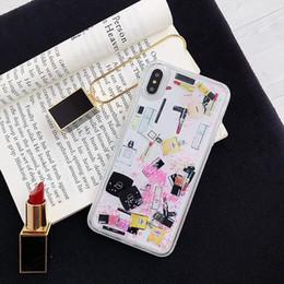 2019 bouteille de parfum iphone plus Cosmétique Quicksand Hard PC + Étui TPU souple pour Iphone XR XS MAX X 8 7 6 Plus Bling Rouge À Lèvres Liquide Bouteille De Parfum De Luxe De Mode Paillettes Couverture bouteille de parfum iphone plus pas cher
