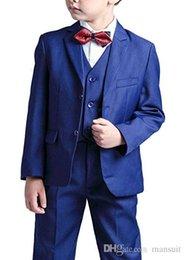 casamento vermelho do laço da camisa preta Desconto Suit Boy Notch lapela Custom Made Kid azul casamento Terno / Prom / Jantar / Lazer / mostrar terno Crianças (Jacket + Calças + Vest + shirt + Tie) M1356