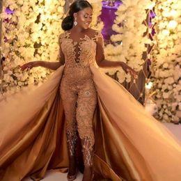 Clássico vintage prom vestidos on-line-2019 Clássico Macacões Vestidos de Baile Com Trem Destacável Mangas Compridas Lace Appliqued Vestidos de Noite de Luxo Africano Partido das Mulheres Pant BC0609