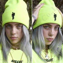 womens crochet beanie Promo Codes - Billie Eilish Beanies Winter Designer Hats Acrylic Knitted Beanie Knitting Skull Cap Headwear Mens Womens HipHop Embroidery Hat BeanieB82803