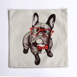 Giraffa chiazzata del cane di Hugger del Pug del cane con la copertura di cuscino di tela decorativa delle coperture dell'ammortizzatore di vetro rosso per il sofà del divano della camera da letto da