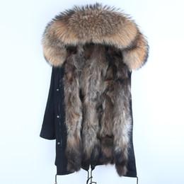 Real Fur Parka Winterjacke Mann wirklichen Waschbär Pelz mit Kapuze Mänteln Natur Waschbär Hundefutter Jacke Man Real Pelz Mantel T190908