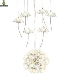 luzes suspensas comerciais led Desconto Dandelion candelabros de iluminação 21LED 33LED para sala de jantar quarto sala de exposições Sala de estar pingente de lâmpada pendurada com controle remoto