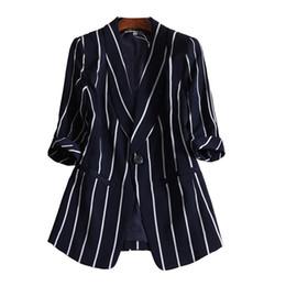 2019 casaco de trabalho bege Mulheres Pequeno Terno Listrado Vertical Terno Casual Tops Feminino Jaqueta de Manga Longa L-5XL frete grátis