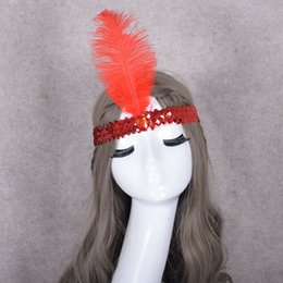 Penas de avestruz para fitas on-line-Conjunto de páscoa Em Broca Pena Headband COS Lantejoulas Faixa de Cabelo De Penas Avestruz Headwear Suprimentos de Festa de Natal do Dia Das Bruxas 1 8yk A1
