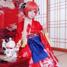 Kimono gintama online-Amine Gintama Kouka Kagura Cosplay Tamaño personalizado para adultos Vestido de novia Colgante Eje Uniformes Kimono Mejorados Traje de Cosplay
