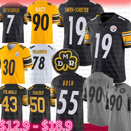 Pittsburgh Jersey Steelers 19 Juju Smith-Schuster 90 T.J. Watt Bettis, 55 Devin, Bush, Conner, Polamalu, Ryan Shazier, Roethlisberger, Villanueva de