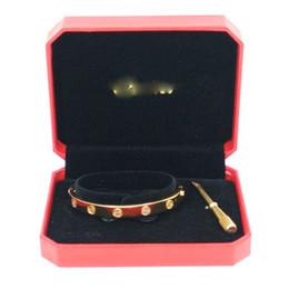 Stile classico 316L vite dell'acciaio inossidabile di amore braccialetto del Mens del braccialetto donne gioielli paio con un cacciavite e LOGO regalo di Natale da