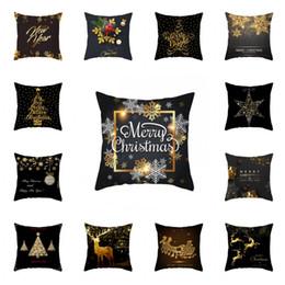 2019 almohadas diseño del árbol Negro Navidad del oro caja de la almohadilla creativa del copo de nieve del árbol de Elk Cojín Diseño de la cubierta principal Adornos almohada populares 4 2JZ H1 rebajas almohadas diseño del árbol