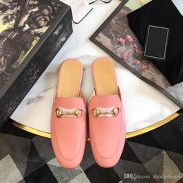 Ballerines roses en Ligne-Rose Chaussures Plates 2018 Designer Chaussures Designer Pantoufles Plat Femmes Sandales Ballet De Mode Classique Demi Chaussons Taille 35-41