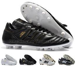 2020 chaussures de football en cuir classiques Hot Classics Hommes Copa Mundial Cuir FG Chaussures De Foot Discount Crampons Coupe Du Monde Bottes de Football Noir Blanc botines futbol Taille 39-45 chaussures de football en cuir classiques pas cher