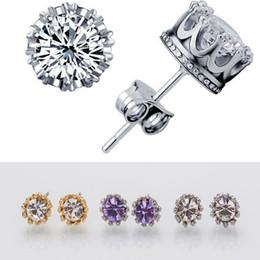 8dcaf0ec0cf9 aretes para hombres Rebajas Pendientes de la corona de cristal natural al  por mayor de moda