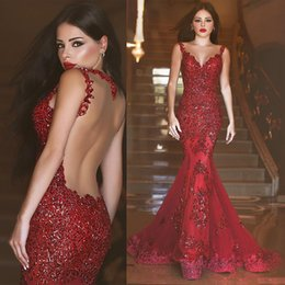 michael costello kurz Rabatt Mermaid Abendkleider 2019 Roben de Soiree SpitzeAppliques Tulle Burgund Formal Abendkleid Abendkleid Afrikanische Günstige Cocktailparty-Kleider