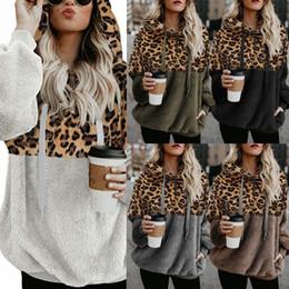 más el tamaño de las tapas de organza Rebajas invierno 2019 del leopardo de cremallera superior felpa de las mujeres bolsillo del suéter 600222 wt19