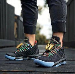 Argentina Hombres lebron 16 Mira los zapatos de baloncesto The Throne Negro Metallic Gold Rose Frost CI1518-001 Zapatillas deportivas de diseñador auténticas con estuche Suministro