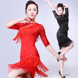 2018 falda de baile latino sexy traje de las mejores mujeres Samba Tango  tipos de borlas Vestidos concurso Performamnce salsa Lady Latina 337a4e9f56a91