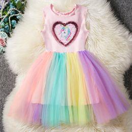 Fantasia de lantejoulas coração projetado unicórnio dress para meninas partido unicórnio rainbow kids vestidos para meninas princesa menina traje de páscoa de