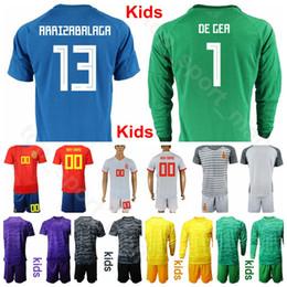 Spanien online-Jugend Spanien Langer Torwart GK Goalie Fußball Trikot Set 2019 2020 Kinder 1 DE GER 1 CASILLAS 23 REINA Fußball Trikot Trikots Uniform