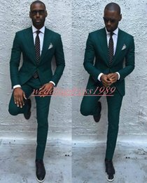 Vestiti di harris tweed online-Dark Green 2019 Slim Business Uomo Abiti Smoking dello sposo Best Man Sposo Abito formale Matrimonio Smoking Abiti Groomsmen Suits (Jacket + Pants)