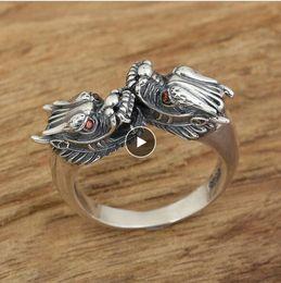 2019 Anel Ajustável 100% 925 Anel de Prata Esterlina Retro Thai Prata Red Eye Dragon Mulheres Homens fine jewelry de
