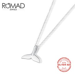 sterling silver choker collar Coupons - ROMAD Mermaid Pendant Necklace 925 Sterling Silver Whale Tail Charm Chokers Necklaces Collar for Women Girls Jewelry ketting R4