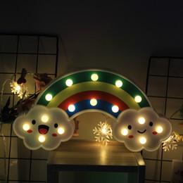 Lampada da tavolo della batteria principale online-Lampade da parete Rainbow Night Light LED per bambini Camere Battery Power Plastic Plastic