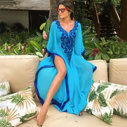 2019 copertine classiche di caramelle Bikini Swim Cover Up Floral Blue Kaftan Robe Vestido De Plage Praia Scollo a V Sexy Tuniche costume da bagno Per Pareo Beach Dress Beachwear
