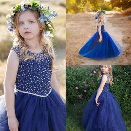 8d7c30dbbd4ec robe formelle fille bleu marine Promotion Princesses bleu marine petites  filles pageant robes mignonne une longueur