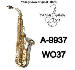 Caixas de sax alto on-line-Marca NOVA YANAGISAWA A-WO37 Alto Saxofone Nickel Banhado A Chave de Ouro Profissional YANAGISAWA Super Play Sax Bocal Com Caso