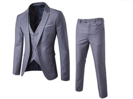 best quality suits for men Promo Codes - Spring 2019 high-quality business casual suit three-piece suit for the groom and best man wedding one-button