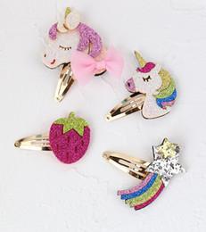 2019 fragola arcobaleno Unicorno cavallo baby ragazze sequin clip di capelli fragola arcobaleno design bambini ragazza mollette per capelli bambini boutique accessori per capelli moda fragola arcobaleno economici