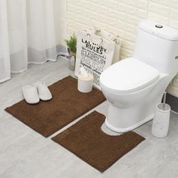 alfombras de baño chenilla Rebajas Antideslizante estera del piso del cuarto de baño Establece lavable a máquina Chenille alfombras de baño WC Exterior Puerta Ducha alfombras y tapetes