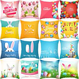 Almohadas conejo conejo online-45 * 45 cm Conejo de Algodón 2019 Feliz Pascua Decoraciones Para el Hogar Almohadas Conejito Huevos Fundas de Almohada Cojín Decoración de Pascua wielkano