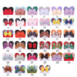 capelli lunghi diy Sconti Sequineed Mouse Ears Headband Big Hair Bow A Bow Badbands Tessuto Tessuto Elastico Bowknot Capelli fai da te con fiocchi Baby Wide Halloween Hairbands