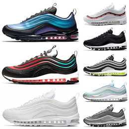 Tamanhos de calçados japão on-line-Nike air max 97 Novos homens tênis para mulheres triplo branco balck retrocesso rosa futuro south beach irredescent japão mulheres sports sneakers tamanho 36-45