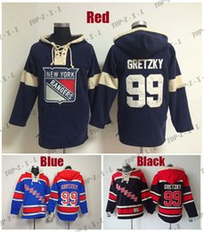 2019 nuova fabbrica di jersey Factory Outlet, Best Quality Mens Hockey Felpe con cappuccio Old Time Jersey New York Rangers 99 Wayne Gretzky Felpa blu / blu scuro, Taglia: M-3XL nuova fabbrica di jersey economici