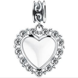 Argentina Plata de ley 925 Buena Suerte Corazón DIY Personalizado en blanco sin fotos Cuelga el grano del encanto para Pandora pulsera Suministro