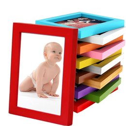 picture tables Promo Codes - 5-8inch Picture Frames Made of Solid Wood High Definition Glass for Table Top Display and Wall mounting photo frame 14 colors.