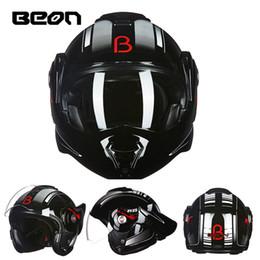2019 capacete modular para cima O novo BEON flip up capacete da motocicleta pode ser convertido em capacete retro cromo azul dupla lente modular capacetes completos 702 capacete modular para cima barato