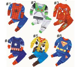 Pigiama spiderman 3t online-2pcs imposta Spiderman camicia a maniche lunghe capitano per bambini Vendicatori Iron Man americano + pantaloni 6 stile della ragazza del ragazzo supereroi pigiama