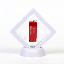 casos flotantes Rebajas 3 piezas de caja de almacenamiento medallones 3D Floating regalo soporte transparente de sobremesa caso de demostración exhibición de la joyería marco del sello monedas Holder