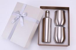 Botella de 12 ml online-Set de regalo de copas de vino de acero inoxidable 500 ml botella de vino tinto vaso de vino de 12 oz set tazas de huevo El mejor regalo para Navidad Color personalizado