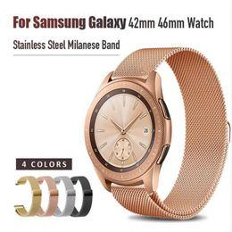 Samsung-uhren online-Für Samsung Galaxy 42mm 46mm Uhrenarmband Loop Milanese Strap Edelstahl Quick Release Pins Gear S3 S2 22mm 20mm