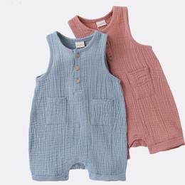 NOVITÀ Baby Boy Girl Tuta da collo girocollo pagliaccetti Tinta unita blu maniche corte in cotone biologico rosa Tasche maniche lunghe neonato da grossisti per abbigliamento boutique per bambini fornitori
