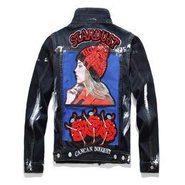 Projeto do remendo da motocicleta on-line-Hot Marca Original Design Do Punk Denim Jacket Bordado Na Moda Dos Homens Lantejoulas Emblema Motocicleta Jaqueta Remendo Projetos pintura Branca